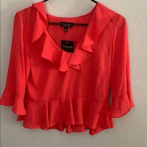 Topshop cropped ruffled blouse